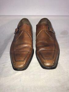 Zapatos-De-Cuero-Joseph-Cheaney-Lindle-Hombre-Vintage-Monje-Correa-Cuero-Calado-Tostado-UK-9-ref