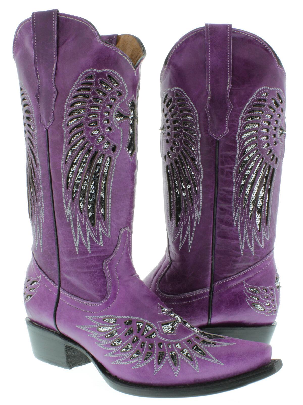 donna Cowboy stivali Cross Wing viola Leather Inlay argento Sequins  Snip Dimensione 5.5  più economico