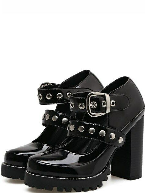 Stiefel niedrig simil schwarz glänzend absatz quadrat 10.5 simil niedrig leder 9194 52870e