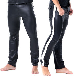Mens-Shiny-Leather-Pants-Wet-Look-Long-Tight-Muscle-Trousers-Motorcycle-Clubwear