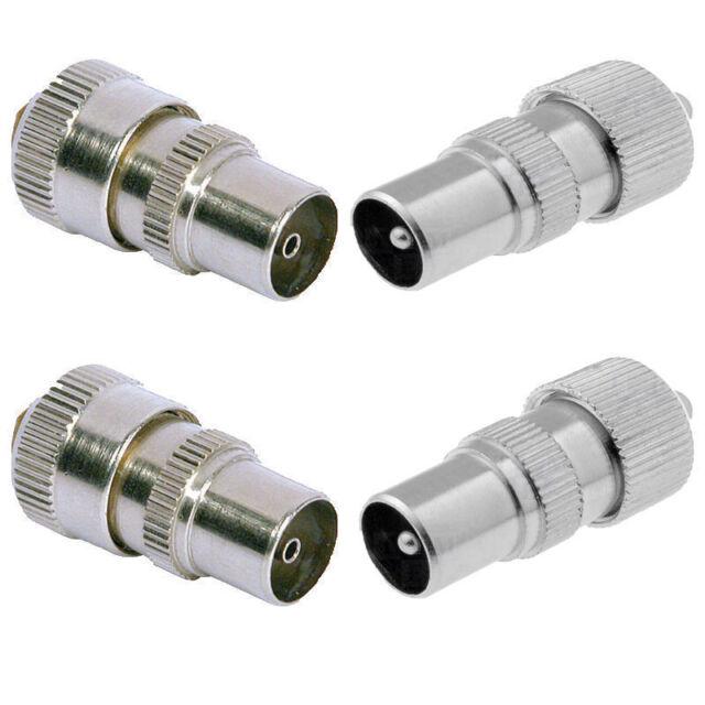 2 X Male TV Aerial Coax Connectors Socket Coaxial Plug Metal Cable ...