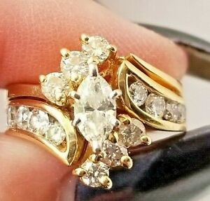 1.60ct Marquise Diamond 14K Yellow Gold Fn Vintage Engagement Wedding Ring