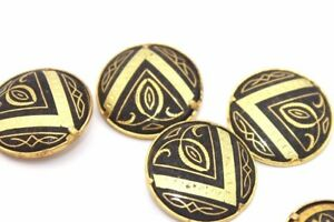 Rare-SET-OF-FOUR-Ornate-DAMASCENE-Gold-Buttons-w-PYRAMID-Motif