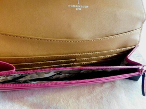 Lodis Rodeo Chain Luna Clutch Fuchsia Italian Leather RFID NWT MSRP $106