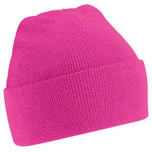 1d58284a297d8 Details about Kids Unisex Fuchsia Pink Cuffed Soft Feel Wooly Hat - Winter,  Autumn, Warm, Rain