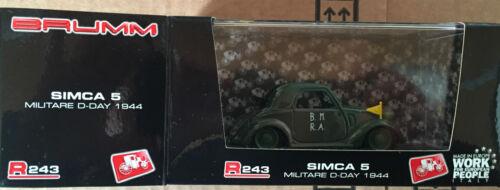 "Die Cast BRUMM /"" Simca 5 Military D-Day 1944 /"" R243 1//43"