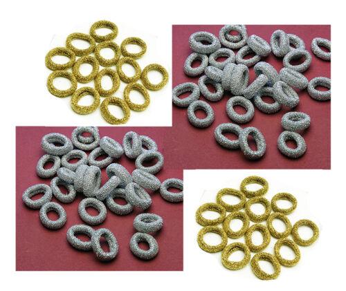 Haargummi mit  Metallfäden Glänzend Hohe Qualität 20 Stück Silber oder Gold