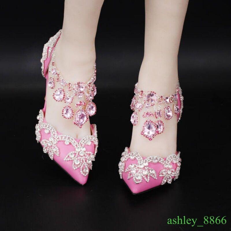 femmes rose Pointed Toe Rhinestone Wedding Princess Bing Bling chaussures 9cm Heels