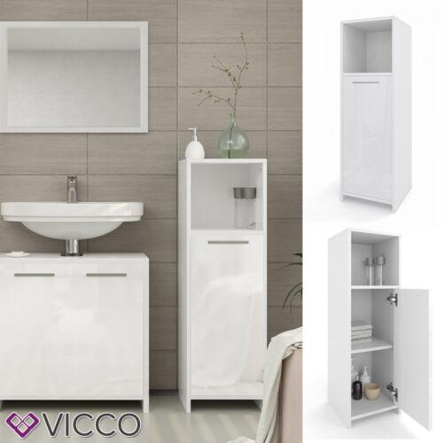 Vicco Meuble de salle de bain Kiko avec étagère armoire de toilette blanc laqué