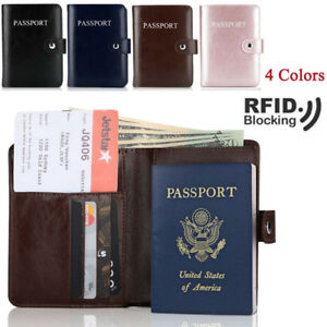 Passport Holder Wallet RFID Blocking Leather ID Card Case Cover Travel Premium
