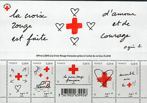 FEUILLET-F4001-NEUF-XX-TIMBRES-5001-5005-CROIX-ROUGE-2015-AMOUR-ET-COURAGE