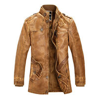 BIG SALE Men's Winter Trench Coat PU Leather Motorcycle Jacket Parka Outerwear