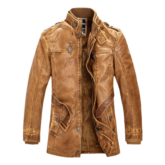 2015 Collection For Winter Long Winter Windbreaker Pu Leather Men Jackets Coats