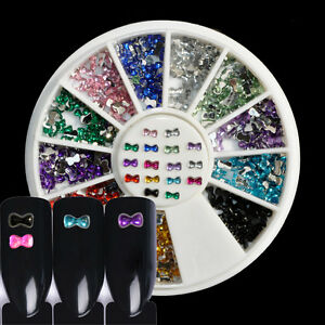 3D-Nail-Art-Decoration-Rhinestones-Diamante-Crystals-Spangles-Metallic-Bows-3mm