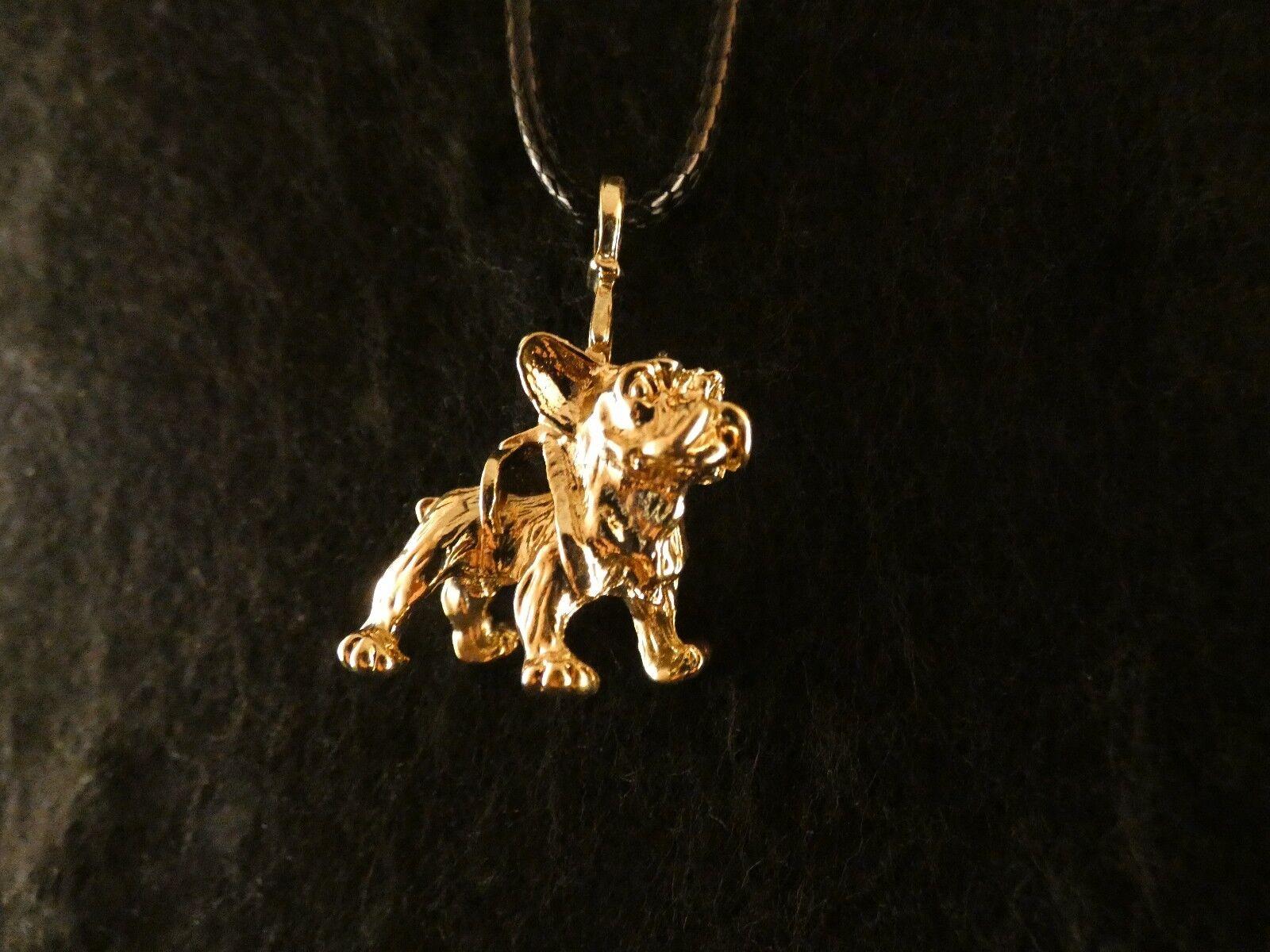 Anhänger mit Kette 24 Karat Vergoldet Französische Bulldogge Hund Dog Deluxe