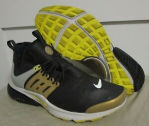 d21b21ee028d NICE Nike Air Presto Mid Utility Black Gold Yellow Running Shoes ...