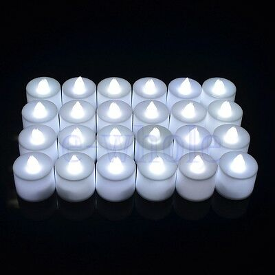 6X Led Battery Operated Flameless Tealights Candles White Wedding Tea Lights HM