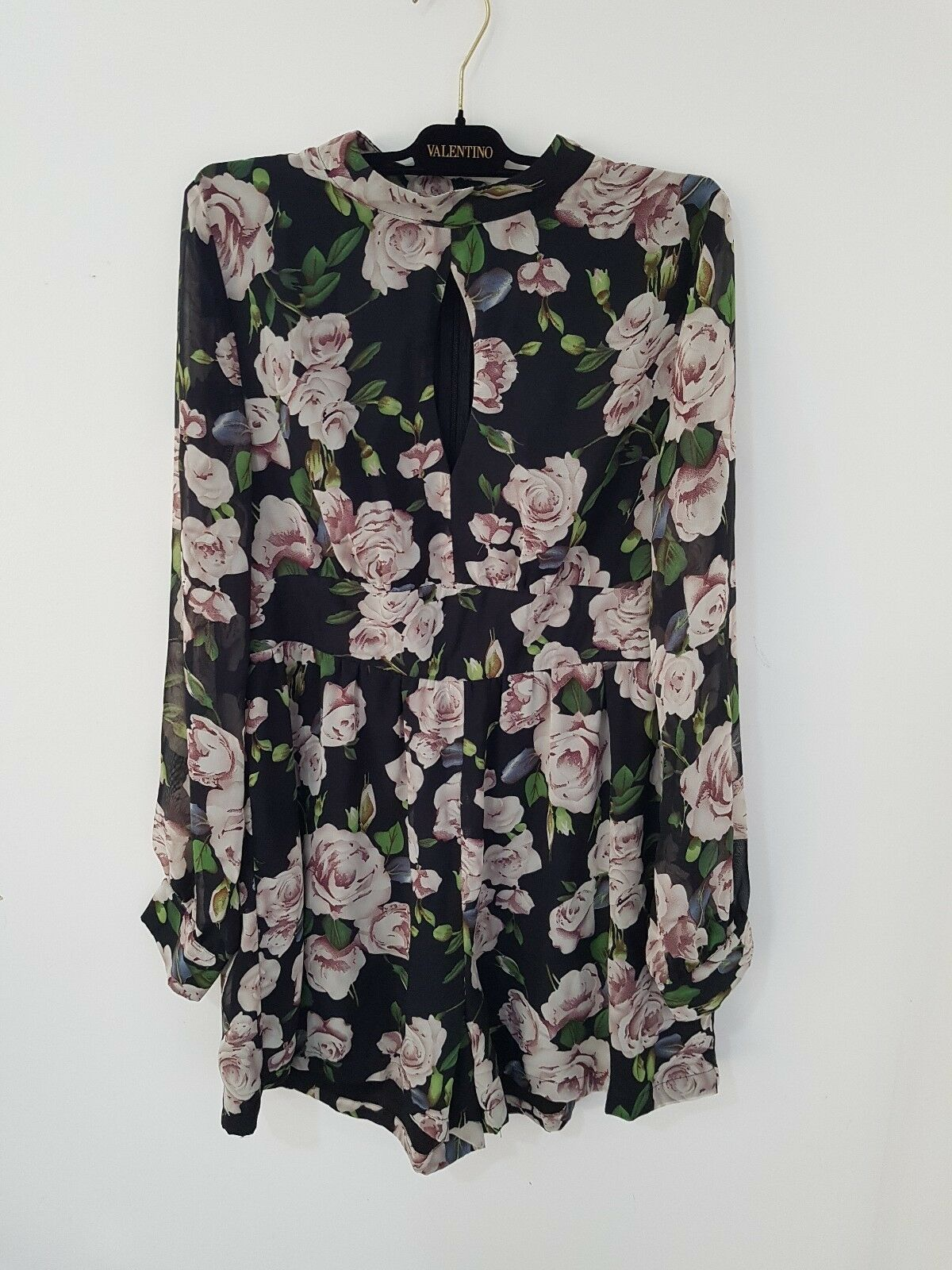 Asos Fashion Union stunning print floral long sleeve playsuit size