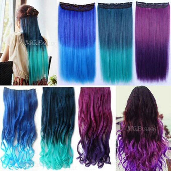 New Fashion 3/4 Full Head Clip in Synthetic Hair Extensions Long Curly Hair