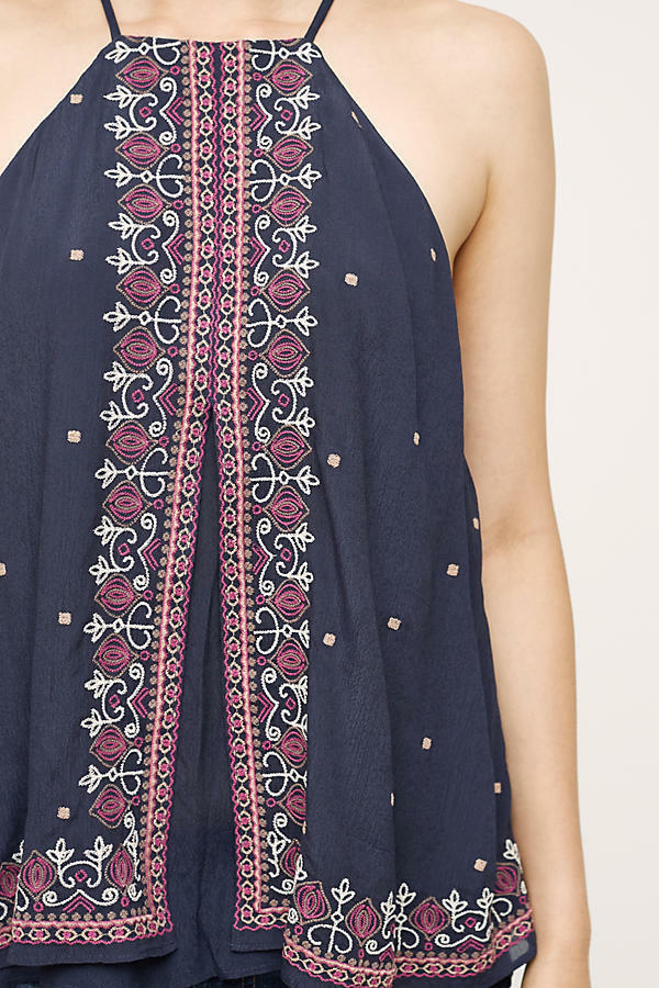 NWT Anthropologie by Floreat Midnight Flower Swing Tank, Größe 6, Embroiderot