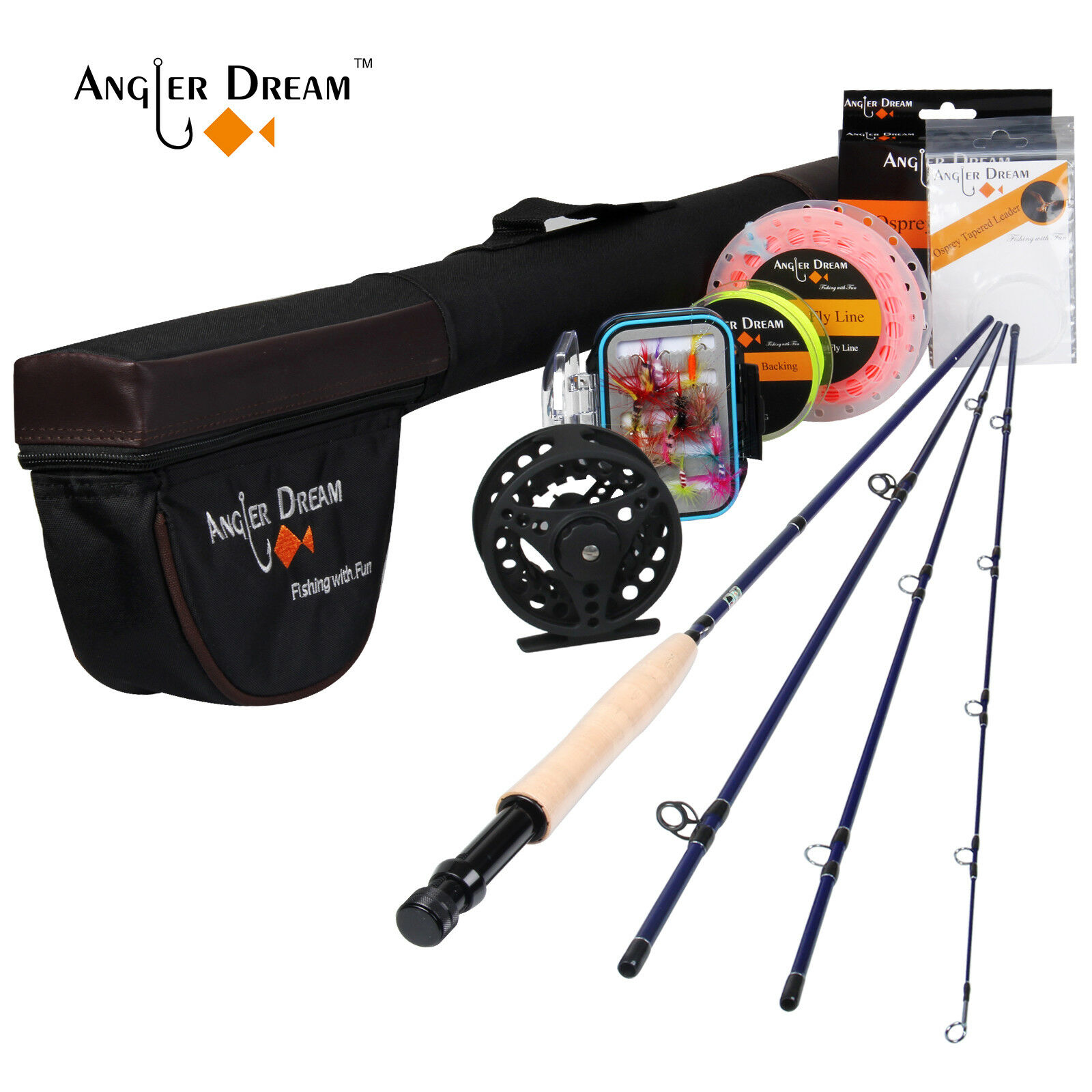 Angler Dream Fly Rod and Reel Combo 3  5WT Carbon Fiber Fly Fishing Rod & Line  quality product