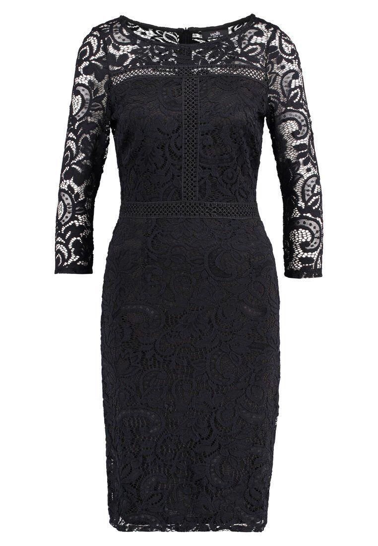 Wallis Gr. 38 M Damen Etuikleid Kleid Spitze Midi schwarz Neu A4907