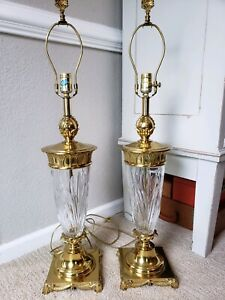 Pair-Vintage-Brass-Crystal-Urn-Trophy-Style-MId-Century-Lamps-Hollywood-Regency