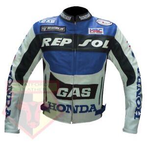 HONDA-GAS-REPSOL-BLUE-MOTORBIKE-MOTORCYCLE-BIKER-COWHIDE-LEATHER-ARMOURED-JACKET