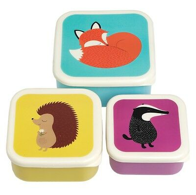 dotcomgiftshop SET OF 3 RUSTY FOX AND FRIENDS DESIGN SQUARE NESTING SNACK BOXES