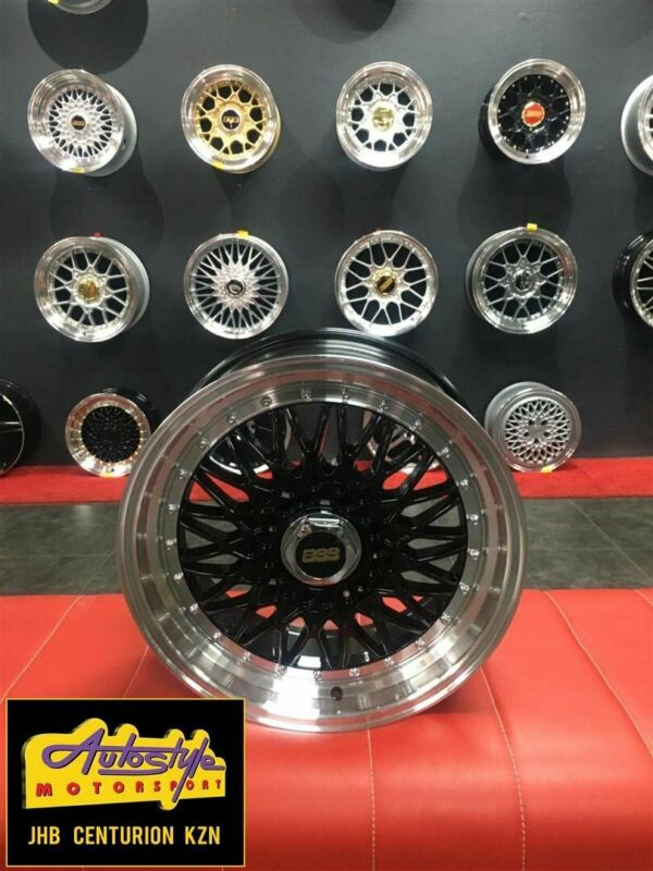 new design polished studded 15 inch and 17 inch  BSS BBS Style 4 100,  4 108, 5 100 Black Alloy whee