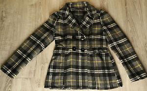 Sashimi-Nordstrom-Juniors-Sz-M-Double-Breasted-Peacoat-Coat-Jacket-Plaid-Wool