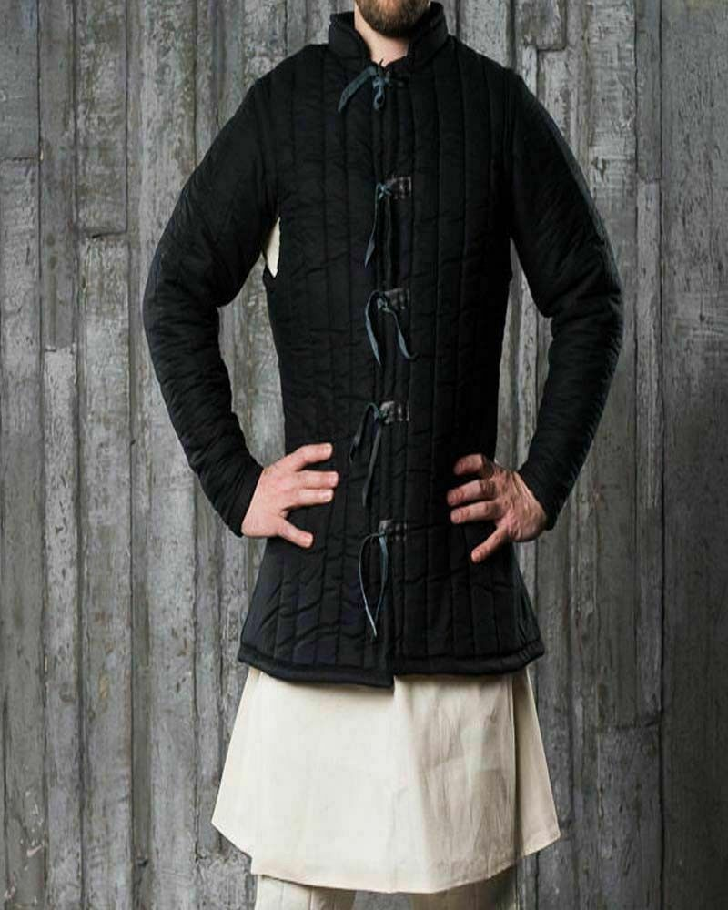 Medieval-thick-padded-Black-Gambeson-with-closed-open-Armpits-jacket-coat