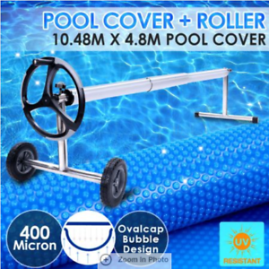 400-Micron-Solar-Swimming-Pool-Cover-Blanket-10-48M-x-4-2M-Roller-Wheel-Blue