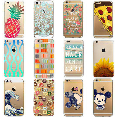 New Various Pattern Clear Skin Hard Back Case Cover For iPhone5C 6 6Plus 7 7Plus