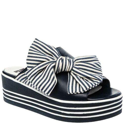 Ladies Black Wedge Platform Mules Sandals with Oversized Bow Betsy 997079//09