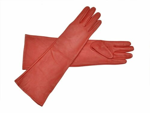 Long Genuine Leather Opera Length Party plain Evening Elbow Gloves