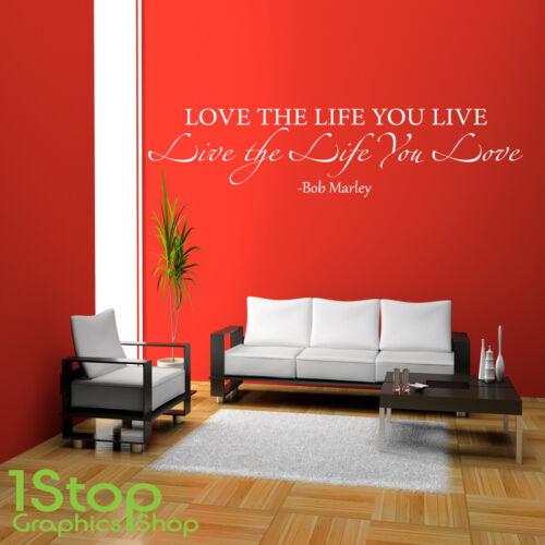 Bob Marley Amor La Vida etiquetas de pared citar-dormitorio salón arte de pared calcomanía x182
