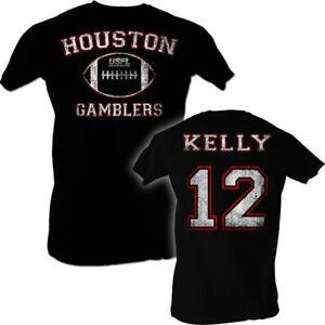 Jim-Kelly-12-USFL-Houston-Gamblers-Men-039-s-Tee-Shirt-Black-Sizes-S-5XL