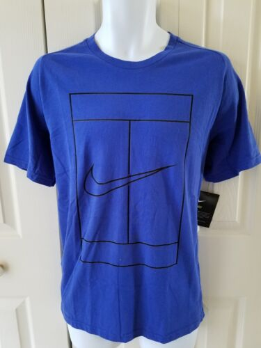 Nike Men/'s Court Dry Graphic Tennis T‑shirt Vents on back‑ Blue 830925 452
