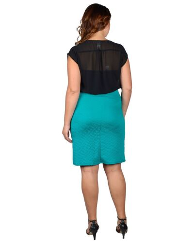 Jr/'s Plus 1X,2X,3X Textured High Waist Knee-Length Fitted Pencil Skirt !