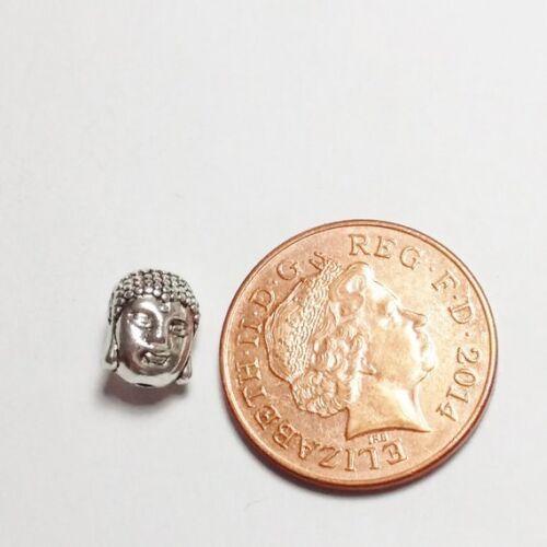 6 un Cabeza de Buda Granos del Metal Plata Antigua 11x9mm B0080168 níquel libre de plomo