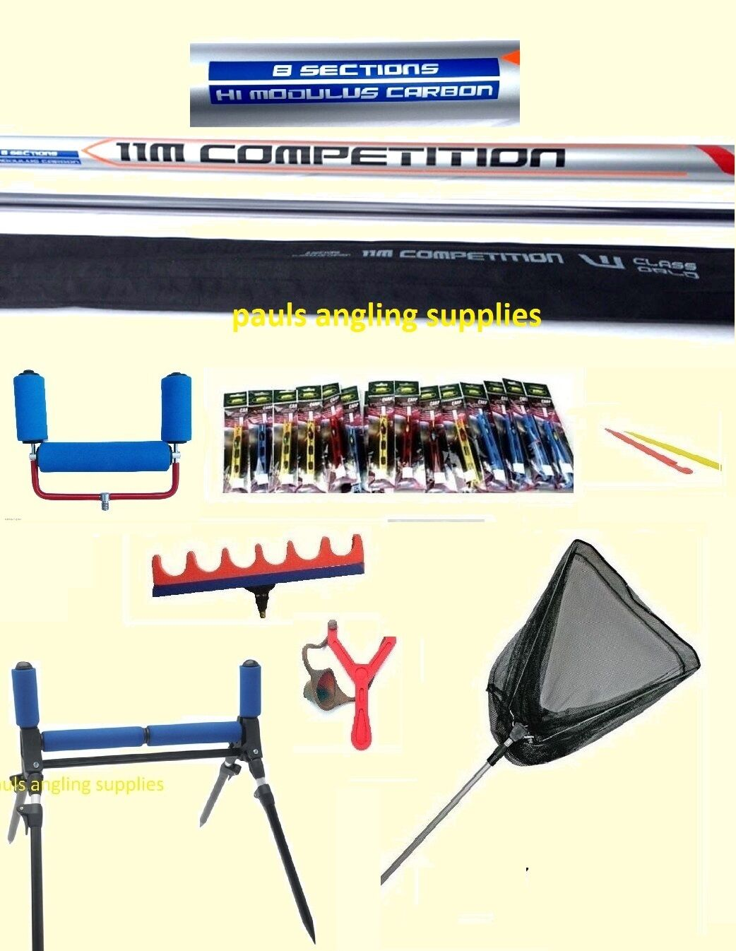 11M Carp Fishing Pole World Class Size 14 ELASTIC FITTED Roller Pole Rigs Net