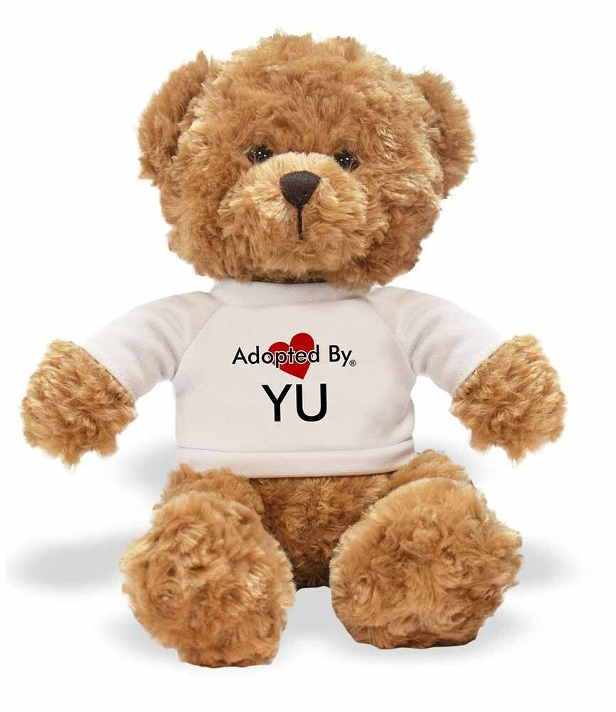 Adopted By YU Teddy Bear Wearing a a a Personalised Name T-Shirt, YU-TB1 f1e913