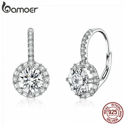 BAMOER Solid S925 Sterling silver Earrings Shining time Dangle With CZ For Women