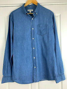 Country-Road-Chambray-Cotton-Button-Down-Collar-Shirt-Men-039-s-Size-M