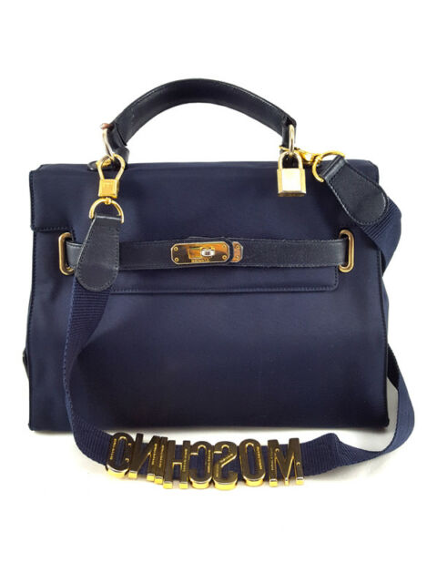 Authentic Moschino Redwall Vintage Blue Nylon/Leather Small Satchel Bag