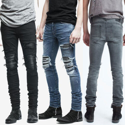 Men/'s Fashion Zipper Ankle Skinny Jeans Distressed Ripped Destroyed Wash Denim