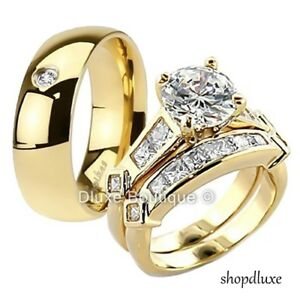 53853940e5d397 HIS HERS 3 PIECE MEN'S WOMEN'S 14K GOLD PLATED WEDDING ENGAGEMENT ...