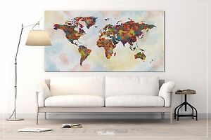 Details about World Map Watercolor Canvas Extra Large Push Pin World Map  Canvas Art Print-865