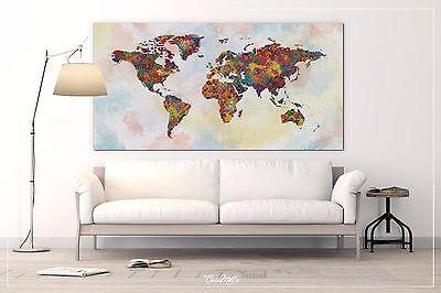 World Map Watercolor Canvas Extra Large Push Pin World Map Canvas Art  Print-865   eBay